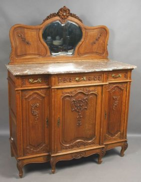19th C. French Oak Buffet With Marble Top