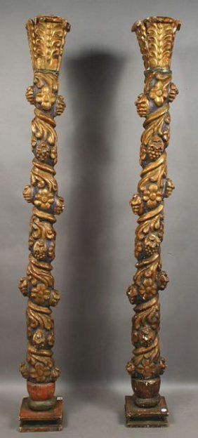 Pair Of 18th Century Venetian Carved Columns,Gilt