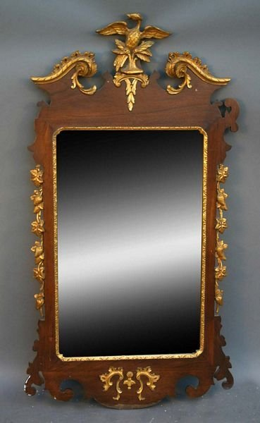 3122: Early 20th C. Chippendale-style Mahogany Mirror