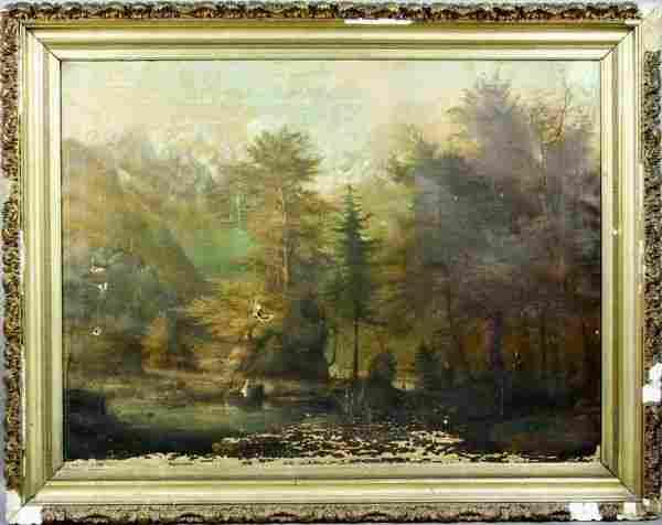 3266: 19th C., Western Landscape w/ Mountains, o/c