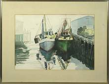 3375: T. Dysart, 20th C., Boats in Harbor, W/C