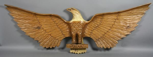 4019: H.C. Meyers, 20th C., Carved Wooden Eagle