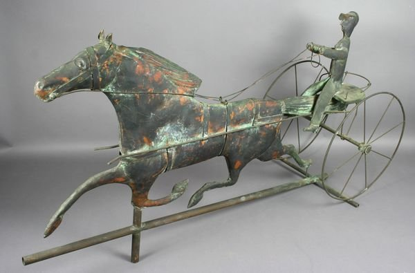 4022: 19th C. Trotting Sulky Copper Weather Vane