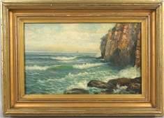 4119: W.L. Dean 19th C., Maine Seascape, O/Board