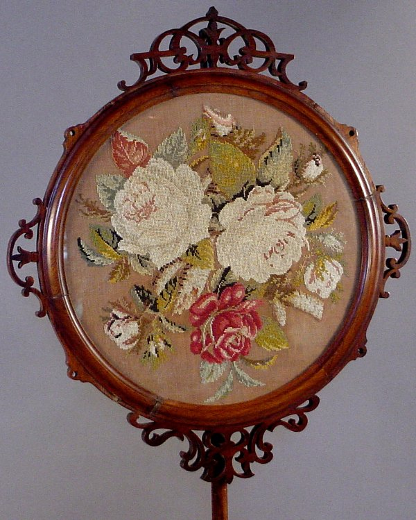 8: VICTORIAN POLE FIRE SCREEN WITH FRAMED NEEDLEWORK - 2