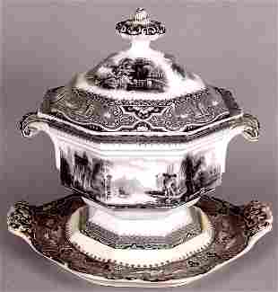 W. ADAMS & SONS MULBERRY TUREEN 'ATHENS' PATTERN