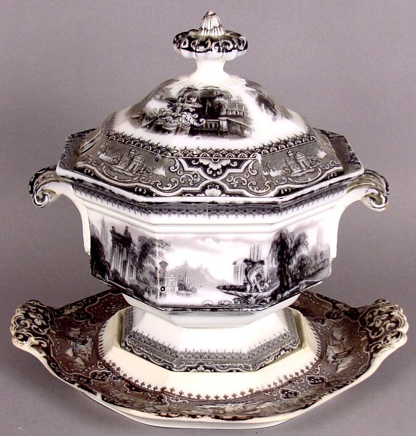 10: W. ADAMS & SONS MULBERRY TUREEN 'ATHENS' PATTERN