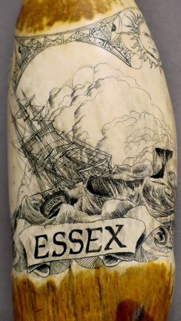 13: SCRIMSHAW WHALE TOOTH ESSEX WHALING SHIP - 3