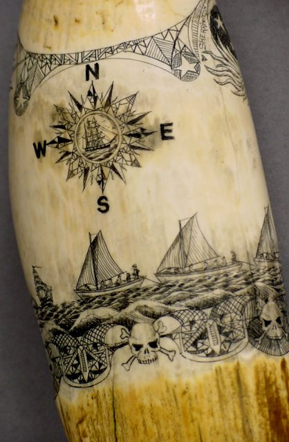 13: SCRIMSHAW WHALE TOOTH ESSEX WHALING SHIP - 4