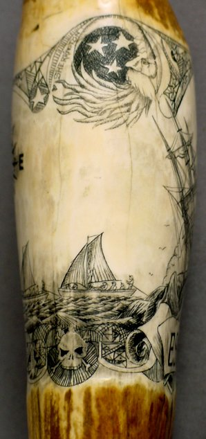 13: SCRIMSHAW WHALE TOOTH ESSEX WHALING SHIP - 5