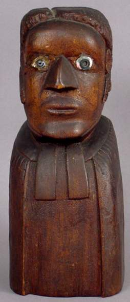 MID-19TH C. FOLK ART BUST BLACK BAPTIST MINISTER