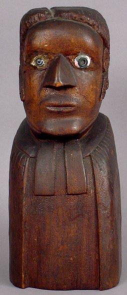 20: MID-19TH C. FOLK ART BUST BLACK BAPTIST MINISTER