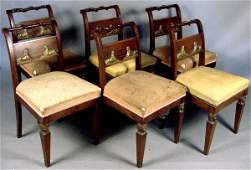 47A: SET OF SIX VINTAGE EGYPTIAN REVIVAL CHAIRS