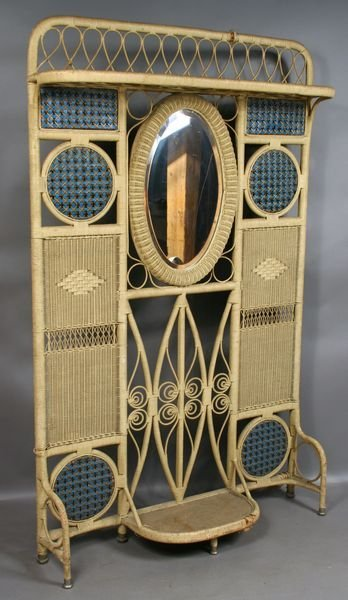 5002: 1900s Rattan/Wicker Hall Mirror with Beveled Glas