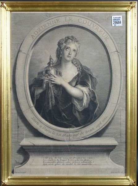 "5011: 18th C. Engraving of a Woman, 16"" x 17 1/2""."