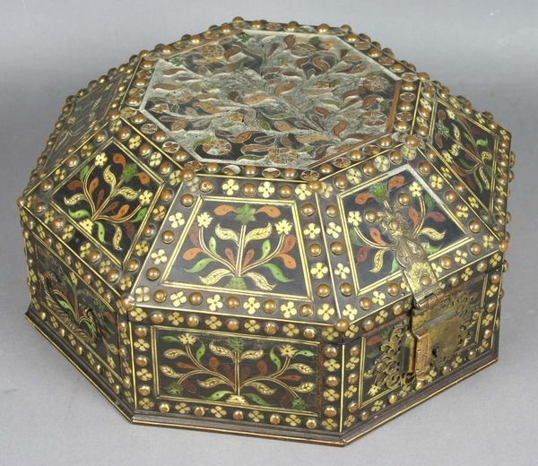 5038: 18th/19th C. Anglo Indian Ivory Inlaid Spice Box.
