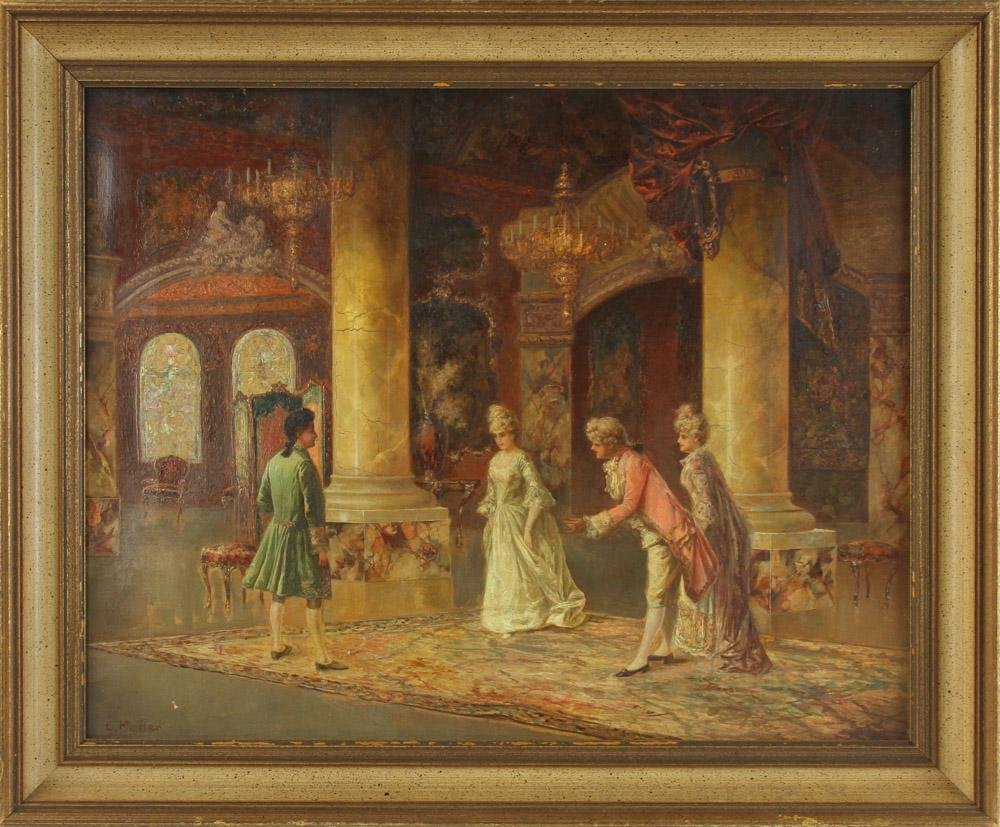 C. Muller, Music Room Interior, Oil on Canvas