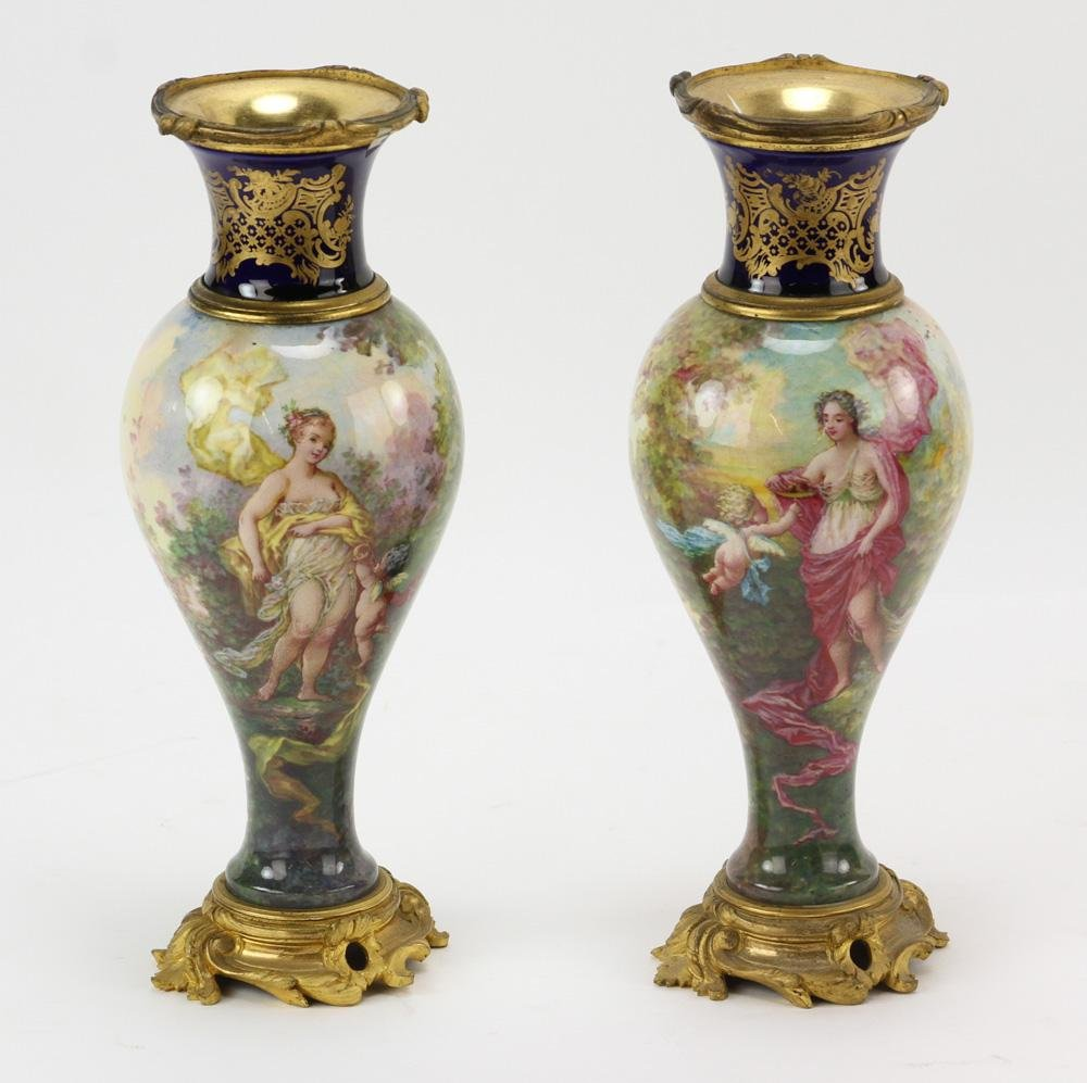 Pair of 19thC French Enamel Scenic Vases