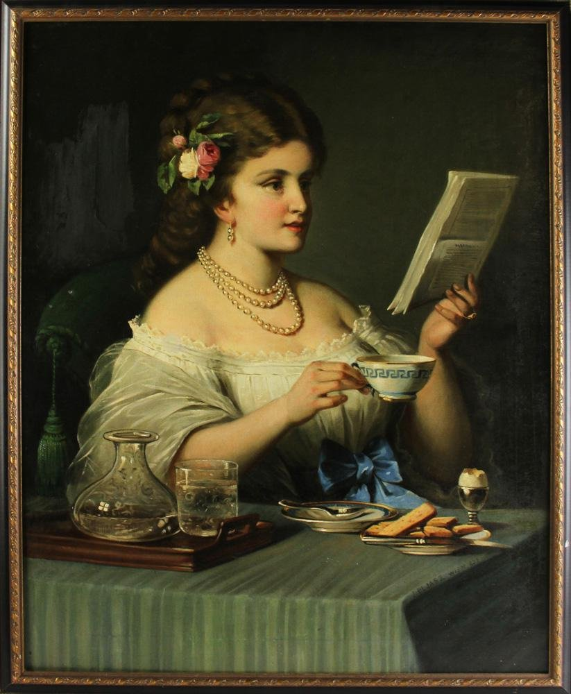 19thC Wein, Young Girl Reading, Oil on Canvas