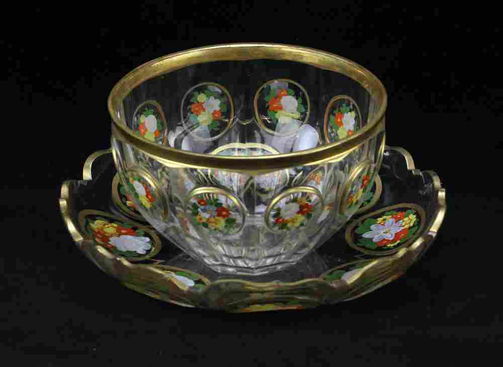 Bohemian Enameled Glass Bowl and Plate