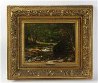 T Worthington Whittredge River Scene Oil on Canvas