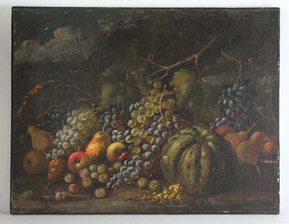 18th/19thC Italian Still Life of Fruit, Oil on Canvas