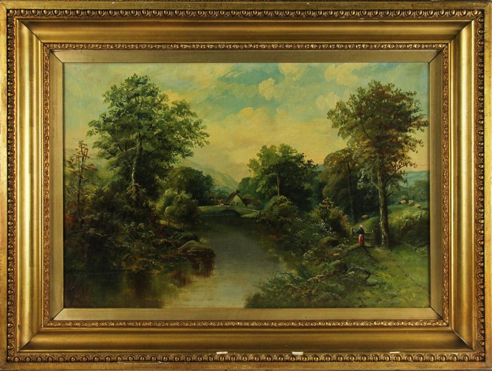 19thC Continental Landscape, Oil on Canvas