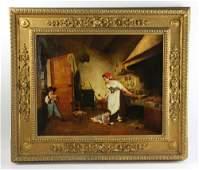 19thC In Manner of Zampighi, Italian Kitchen Scene