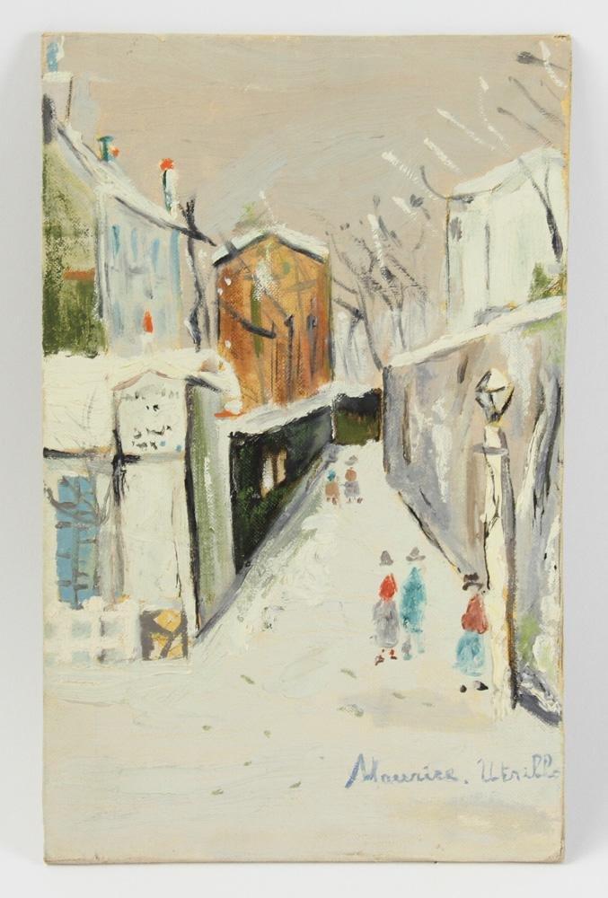 Attr to Utrillo, Montmartre Paris, Oil on Board
