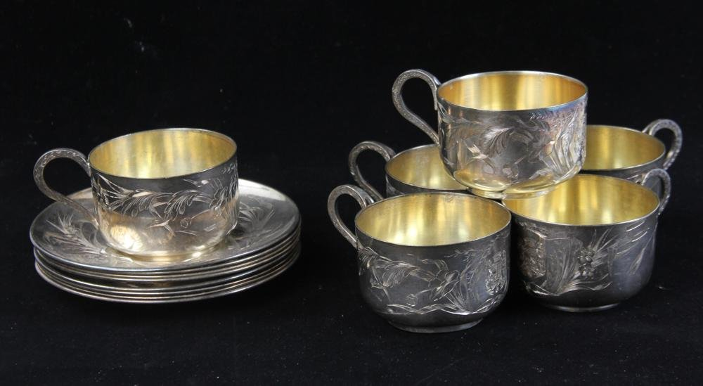 French Engraved Silver Cups and Saucers