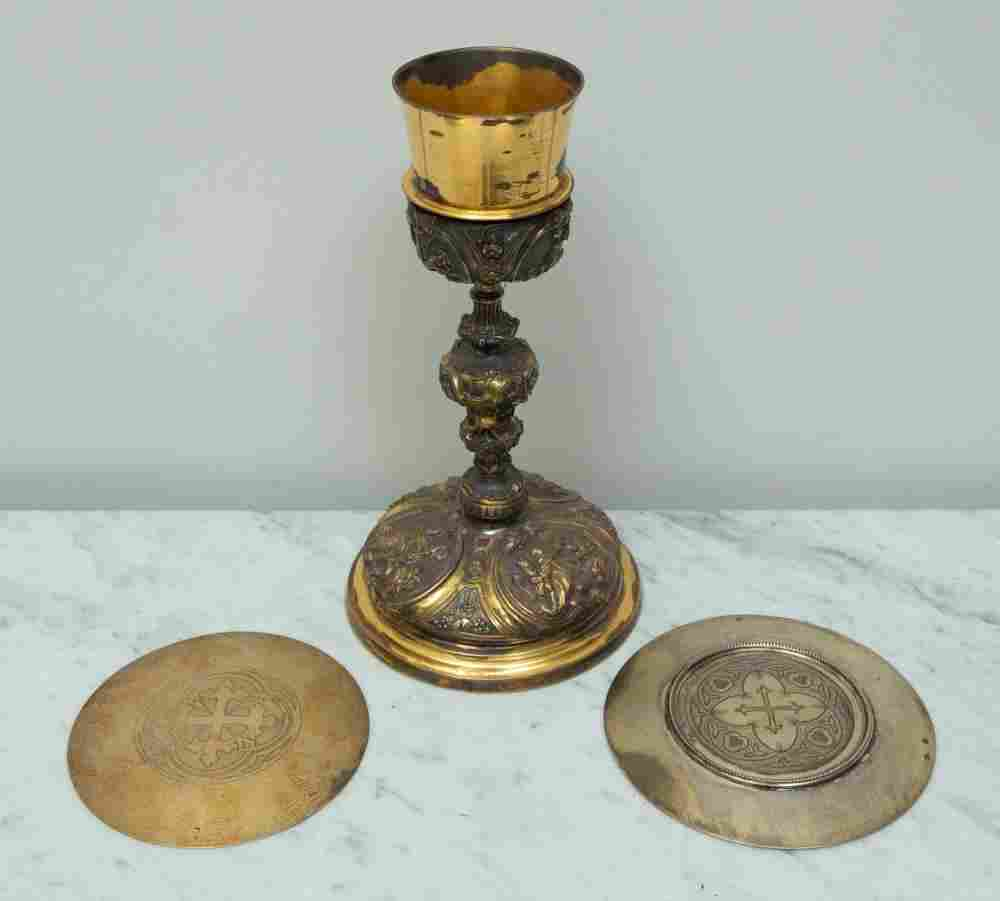Silver Chalice and Communion Plates