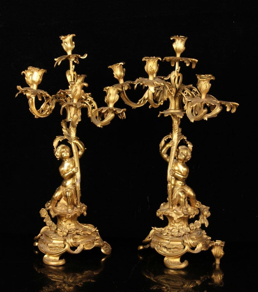 Pair of 19thC French Figural Candelabra