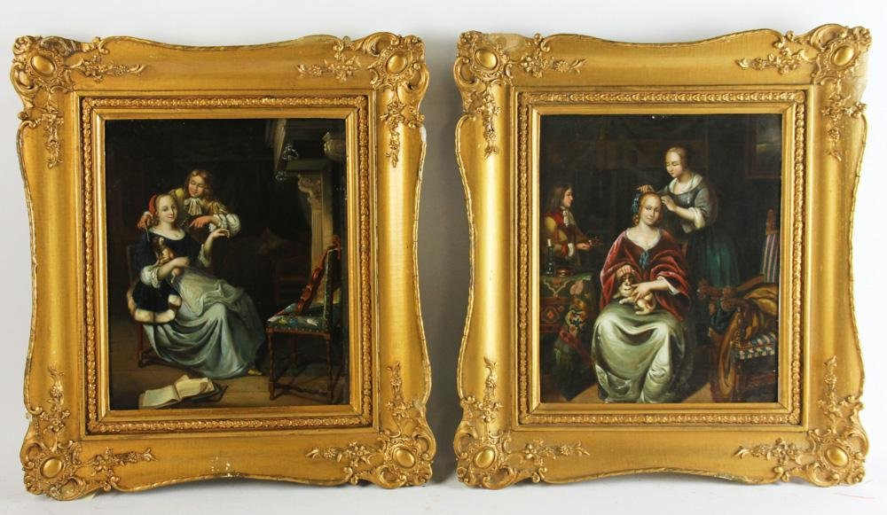 Pair of 19thC Dutch Figural Paintings on Tin