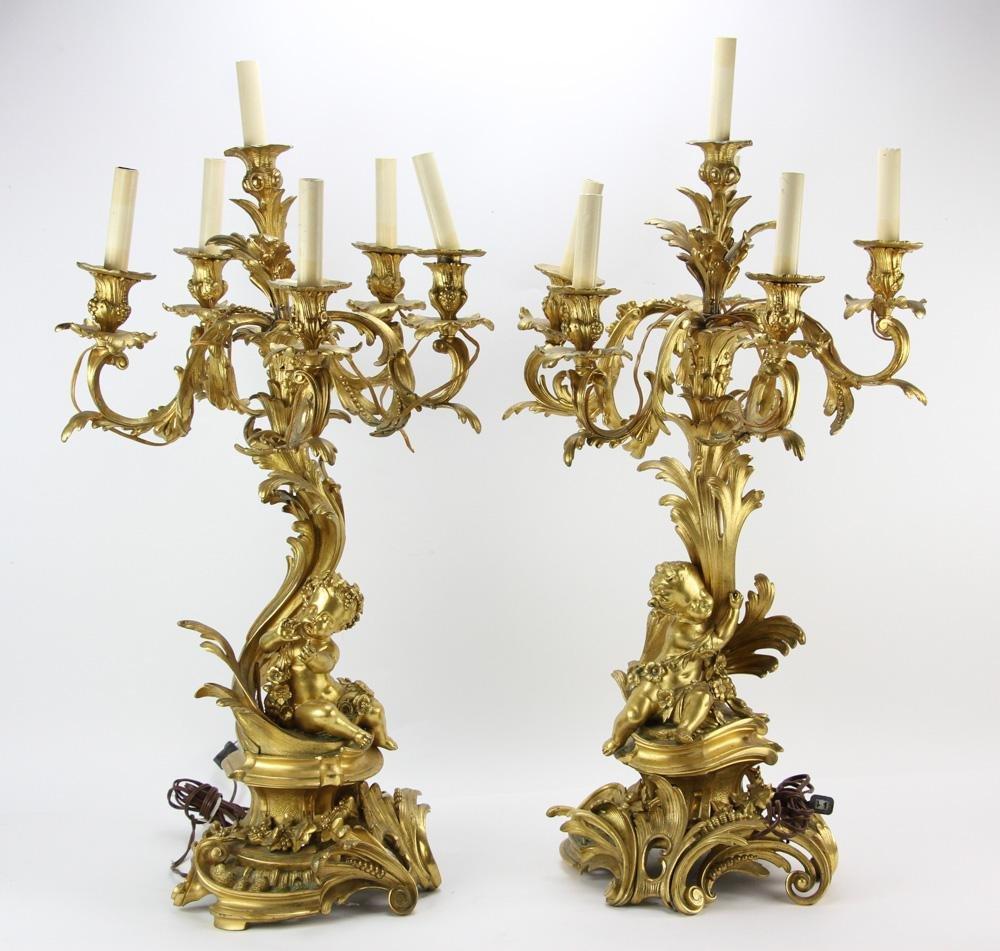 Pair of 19thC French Gilt Bronze Figural Candelabra