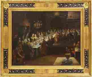 16th/17thC Oil on Canvas, Feast of Balthazar