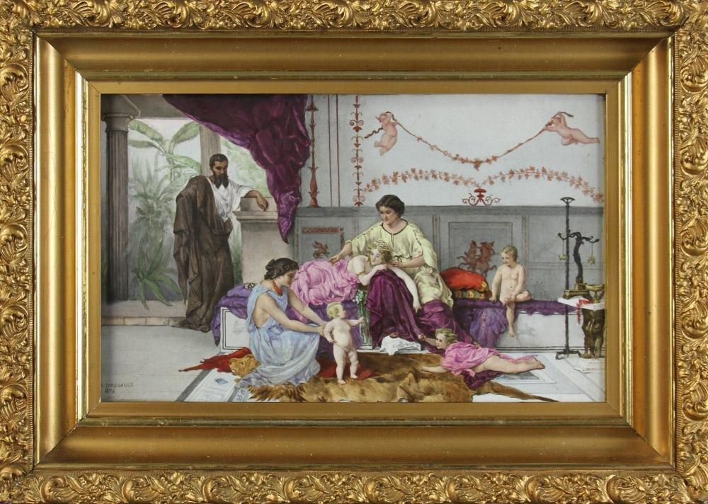 19th C Royal Vienna Artist Signed Porcelain Plaque