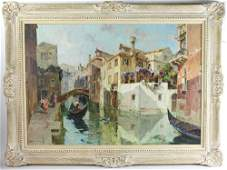 Brombo Signed Venice Canal Scene Oil on Canvas