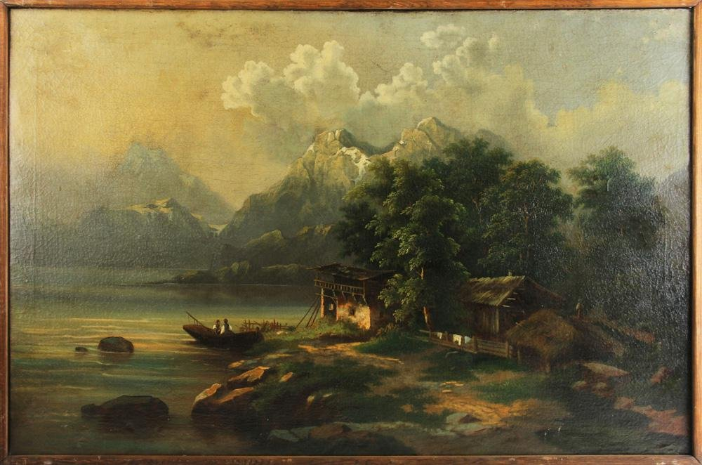 Late 19th/Early 20thC German View, Oil on Canvas
