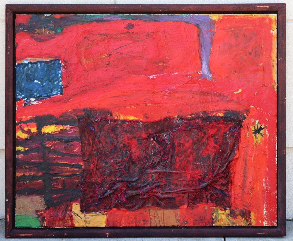 Anton Henning, Red Abstract, Oil on Canvas