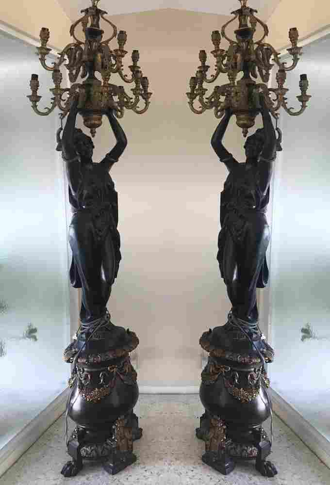 Pair of French Style Bronze Torchieres
