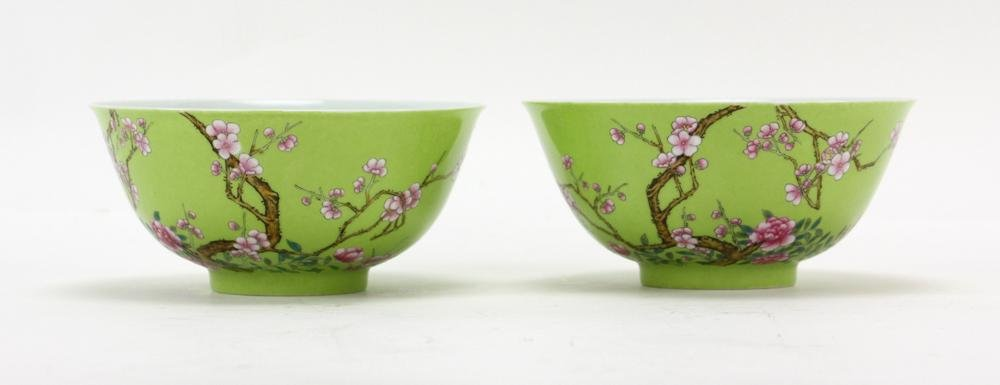 Pair of Chinese Green Glazed Famille Rose Bowls