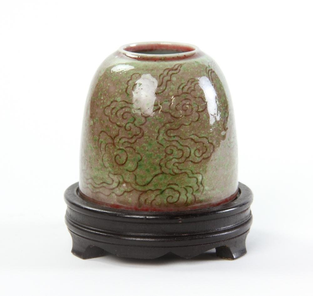 Chinese Carved Red Glazed Brush Washer