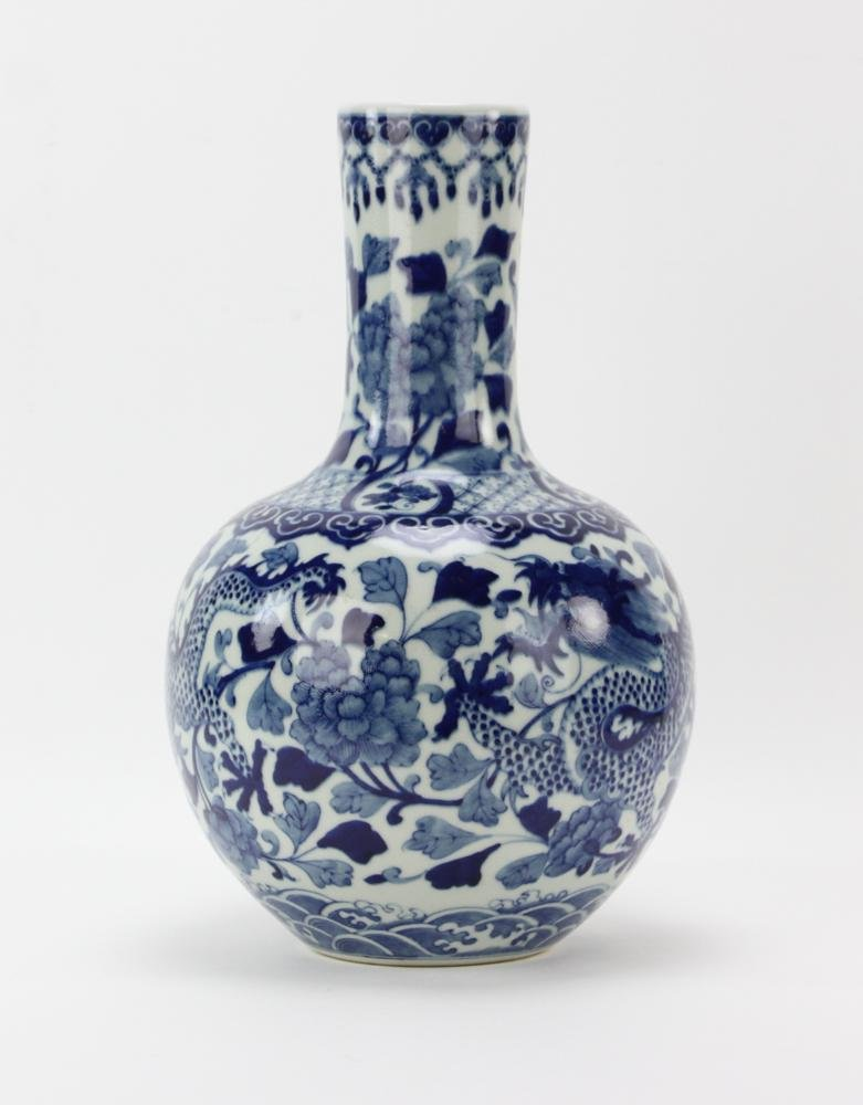 Large Chinese Bottle Vase, Flying Dragon