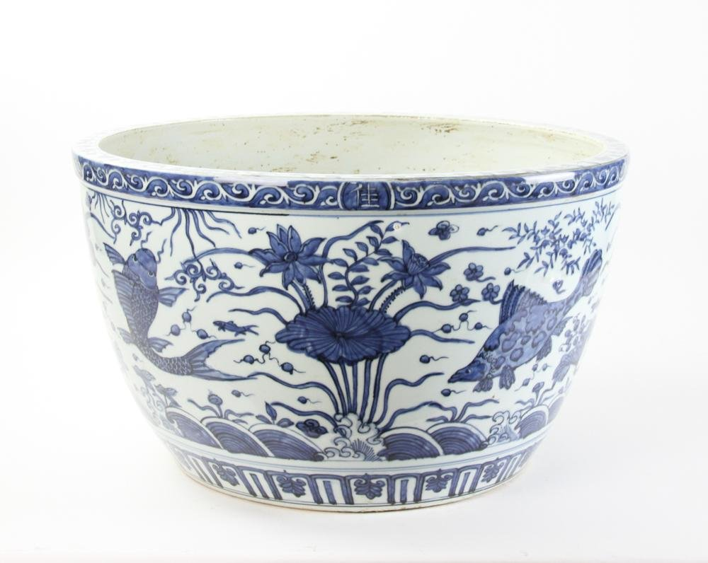 Large 17thC Chinese Blue and White Fish Bowl