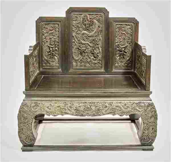 Important 18thC Chinese Carved Dragon Throne