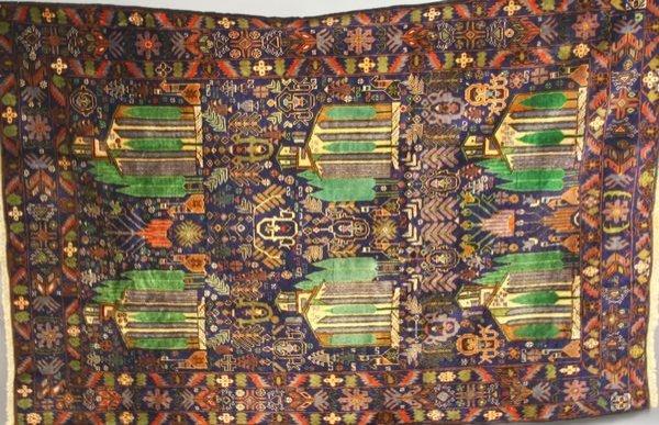 "9: Afghanistan Tribal Rug, 4' 10"" x 7' 4""."