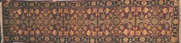 """12: Indo Japour Rug, Wine and Black, 2' 6"""" x 10'."""