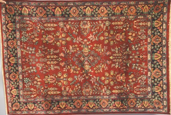 13: Indo Sarouk Rug, Burgundy Color, 4' x 6'.
