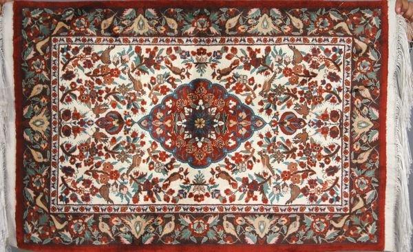 17: Sino Silk Tabriz Rug, Extra Fine Quality, 2' x 3'.