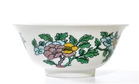 Fine Chinese Famille Verte Porcelain Dragon Bowl